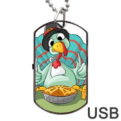 Pie Turkey Eating Fork Knife Hat Dog Tag Usb Flash (two Sides) by Nexatart