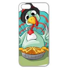 Pie Turkey Eating Fork Knife Hat Apple Seamless Iphone 5 Case (clear) by Nexatart