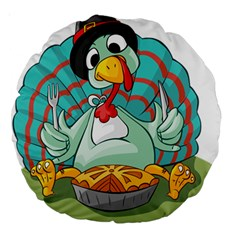 Pie Turkey Eating Fork Knife Hat Large 18  Premium Round Cushions by Nexatart