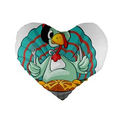 Pie Turkey Eating Fork Knife Hat Standard 16  Premium Heart Shape Cushions by Nexatart