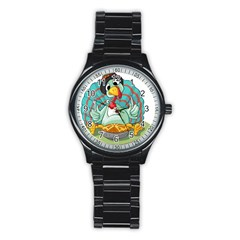 Pie Turkey Eating Fork Knife Hat Stainless Steel Round Watch by Nexatart
