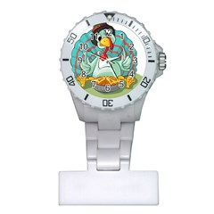 Pie Turkey Eating Fork Knife Hat Plastic Nurses Watch by Nexatart