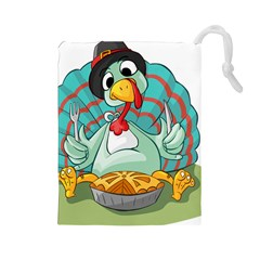 Pie Turkey Eating Fork Knife Hat Drawstring Pouches (large)  by Nexatart