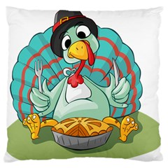 Pie Turkey Eating Fork Knife Hat Large Flano Cushion Case (one Side)
