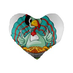 Pie Turkey Eating Fork Knife Hat Standard 16  Premium Flano Heart Shape Cushions by Nexatart