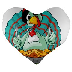 Pie Turkey Eating Fork Knife Hat Large 19  Premium Flano Heart Shape Cushions by Nexatart