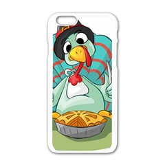 Pie Turkey Eating Fork Knife Hat Apple Iphone 6/6s White Enamel Case by Nexatart