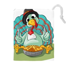 Pie Turkey Eating Fork Knife Hat Drawstring Pouches (extra Large) by Nexatart