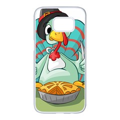 Pie Turkey Eating Fork Knife Hat Samsung Galaxy S7 Edge White Seamless Case by Nexatart