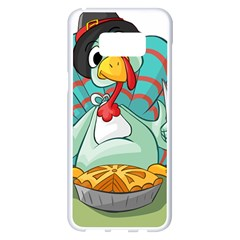Pie Turkey Eating Fork Knife Hat Samsung Galaxy S8 Plus White Seamless Case by Nexatart