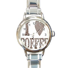 Love Heart Romance Passion Round Italian Charm Watch by Nexatart
