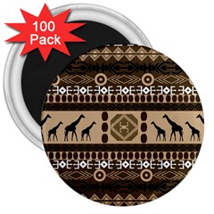 Giraffe African Vector Pattern 3  Magnets (100 Pack)