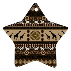 Giraffe African Vector Pattern Star Ornament (two Sides)