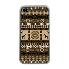 Giraffe African Vector Pattern Apple Iphone 4 Case (clear)