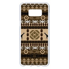 Giraffe African Vector Pattern Samsung Galaxy S8 Plus White Seamless Case by BangZart