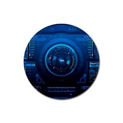 Technology Dashboard Rubber Round Coaster (4 Pack)