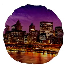 City Night Large 18  Premium Flano Round Cushions by BangZart