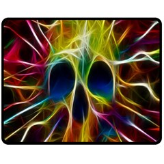 Skulls Multicolor Fractalius Colors Colorful Double Sided Fleece Blanket (medium)