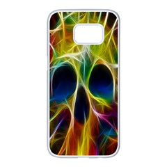 Skulls Multicolor Fractalius Colors Colorful Samsung Galaxy S7 Edge White Seamless Case