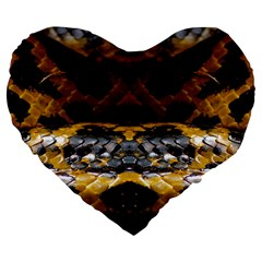 Textures Snake Skin Patterns Large 19  Premium Flano Heart Shape Cushions by BangZart