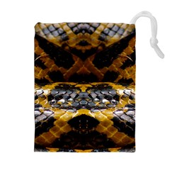 Textures Snake Skin Patterns Drawstring Pouches (extra Large) by BangZart