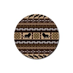 Lion African Vector Pattern Rubber Round Coaster (4 Pack)