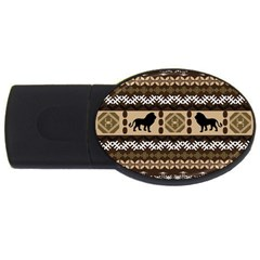 Lion African Vector Pattern Usb Flash Drive Oval (2 Gb) by BangZart