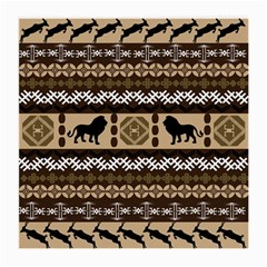 Lion African Vector Pattern Medium Glasses Cloth by BangZart