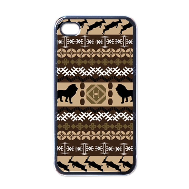 Lion African Vector Pattern Apple iPhone 4 Case (Black)