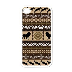 Lion African Vector Pattern Apple Iphone 4 Case (white) by BangZart