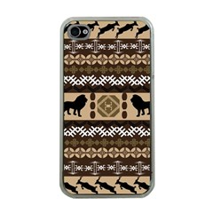 Lion African Vector Pattern Apple Iphone 4 Case (clear) by BangZart