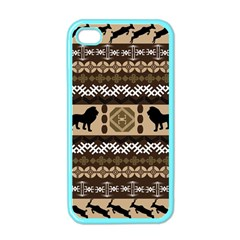 Lion African Vector Pattern Apple Iphone 4 Case (color) by BangZart