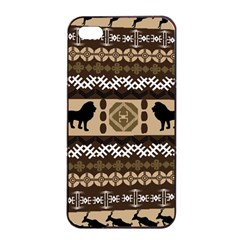 Lion African Vector Pattern Apple Iphone 4/4s Seamless Case (black) by BangZart