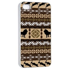 Lion African Vector Pattern Apple Iphone 4/4s Seamless Case (white) by BangZart