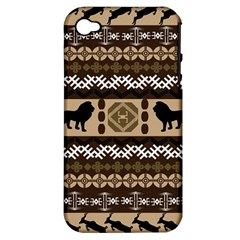 Lion African Vector Pattern Apple Iphone 4/4s Hardshell Case (pc+silicone) by BangZart