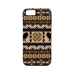 Lion African Vector Pattern Apple Iphone 5 Classic Hardshell Case (pc+silicone) by BangZart