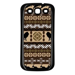 Lion African Vector Pattern Samsung Galaxy S3 Back Case (black)