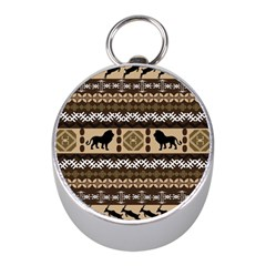 Lion African Vector Pattern Mini Silver Compasses