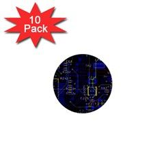 Technology Circuit Board Layout 1  Mini Buttons (10 Pack)