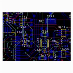 Technology Circuit Board Layout Large Glasses Cloth (2 Side) by BangZart