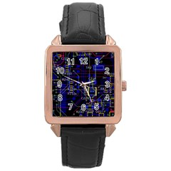 Technology Circuit Board Layout Rose Gold Leather Watch  by BangZart