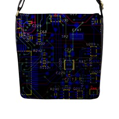Technology Circuit Board Layout Flap Messenger Bag (l)