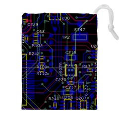 Technology Circuit Board Layout Drawstring Pouches (xxl) by BangZart