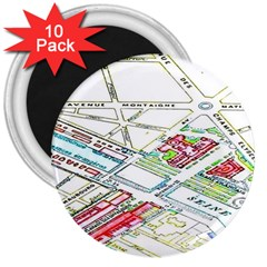 Paris Map 3  Magnets (10 Pack)
