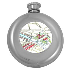 Paris Map Round Hip Flask (5 Oz) by BangZart