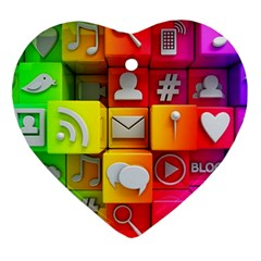 Colorful 3d Social Media Ornament (heart) by BangZart