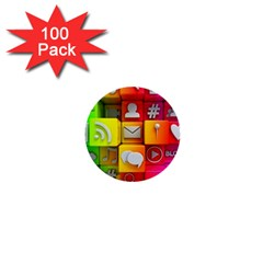 Colorful 3d Social Media 1  Mini Buttons (100 Pack)