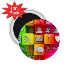 Colorful 3d Social Media 2 25  Magnets (100 Pack)