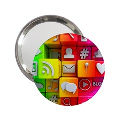 Colorful 3d Social Media 2 25  Handbag Mirrors