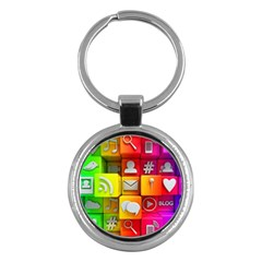 Colorful 3d Social Media Key Chains (round)